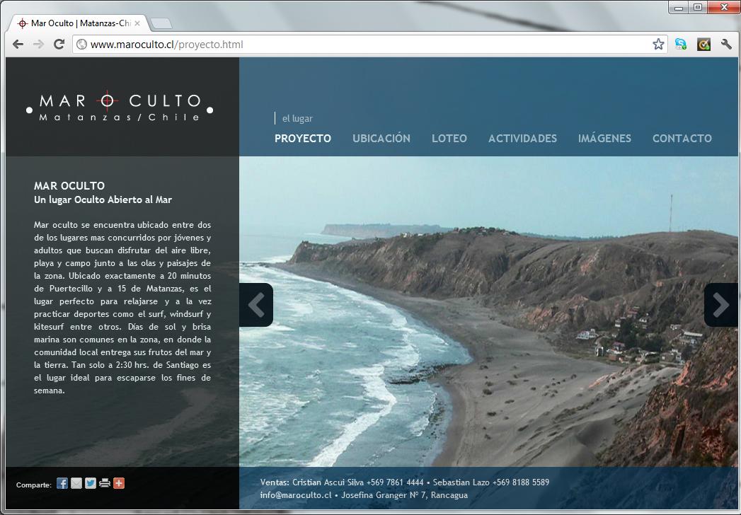 Sitio web terrenos Mar Oculto (para agencia MAW)