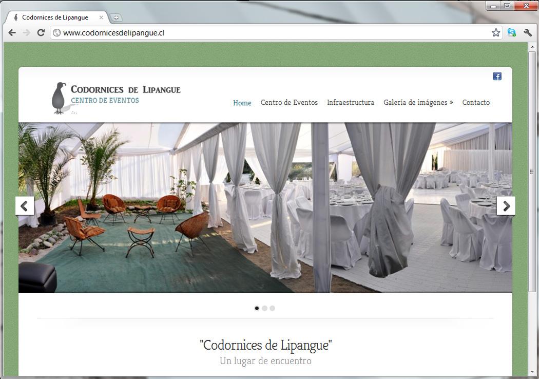 Sitio web centro de eventos Codornices de Lipangue